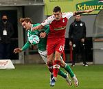 17.10.2020, Schwarzwald Stadion, Freiburg, GER, 1.FBL, SC Freiburg vs SV Werder Bremen<br /><br />im Bild / picture shows<br />Josh Sargent (Bremen), Baptiste Santamaria (Freiburg)<br /><br />Foto © nordphoto / Bratic<br /><br />DFL REGULATIONS PROHIBIT ANY USE OF PHOTOGRAPHS AS IMAGE SEQUENCES AND/OR QUASI-VIDEO.