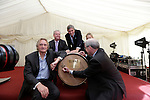 Henry Conyngham, the eighth Marquess Conyngham Brown-Forman executive vice president and chief brands & strategy officer Lawson Whiting, Alex Conyngham, Earl of Mount Charles, Brooke Brown Barzun Brown-Forman Corporation, US Ambassador to Ireland Kevin F. O'Malley signing the first cask at the ground breaking for the new $50 Million Slane Distillery on the grounds of Slane Castle.<br /> Picture Fran Caffrey /Newsfile.ie<br /> <br /> BROWN-FORMAN BREAKS GROUND ON<br /> NEW $50 MILLION SLANE DISTILLERY<br /> <br /> US Ambassador joins Conyngham and Brown families for historic occasion<br /> <br /> Distillery and Visitor Centre to be completed late 2016<br /> <br /> The US Ambassador to Ireland, Kevin F. O'Malley, was guest of honour today at the official ground breaking ceremony for the $50 million (approximately €44 million) Slane Distillery on the historic Slane Castle Estate in Co. Meath, home of Henry Conyngham, the eighth Marquess Conyngham, and his son Alex Conyngham, Earl of Mount Charles.<br />  <br /> The distillery, which will also include a Visitor Centre, is being built by leading US Drinks firm Brown-Forman Corporation, the owners of Jack Daniel's, Southern Comfort and Woodford Reserve which bought all shares of Slane Irish Whiskey Company from the Conyngham family earlier this year.  The Conynghams remain centrally involved in the development of the new distillery and the new whiskey brands which will be introduced in early 2017. <br />  <br /> This is the first new distillery Brown-Forman has built outside of the US and represents its entry into distilling Irish whiskey, one of the fastest growing spirits categories over the last few years.  When completed by the end of 2016, Slane Distillery will create nearly 25 new full-time jobs while the construction process will support approximately 80 jobs.  The Slane Distillery and Visitor Centre will be a welcome new attraction to the Boyne Valley tourism trail.<br />  <br /> The US Ambassador signed the first cask that will be filled with whiskey from the distillery and commented on the significan