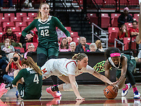 COLLEGE PARK, MD - FEBRUARY 03: Nia Clouden #24 of Michigan State and Faith Masonius #13 of Maryland reach out for a loose ball during a game between Michigan State and Maryland at Xfinity Center on February 03, 2020 in College Park, Maryland.