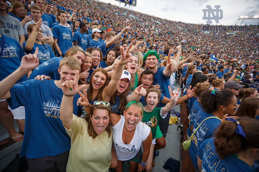 Aug. 30, 3014; Student section in Notre Dame Stadium during the season opening football game against Rice..Photo by Peter Ringenberg/University of Notre Dame