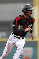 Rochester Red Wings designated hitter Byron Buxton (53) heads towards third base against the Scranton Wilkes-Barre Railriders on May 1, 2016 at Frontier Field in Rochester, New York. Red Wings won 1-0.  (Christopher Cecere/Four Seam Images)