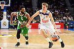 Real Madrid's player XXX and Unics Kazan's player XXX during match of Turkish Airlines Euroleague at Barclaycard Center in Madrid. November 24, Spain. 2016. (ALTERPHOTOS/BorjaB.Hojas)
