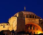 Hagia Sophia Evening - Hagia Sophia (Aya Sofya) floodlit in the early evening, Sultanahmet, Istanbul, Turkey
