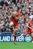 Ernst Joubert of Saracens secures the high ball during the Aviva Premiership match between Saracens and Harlequins at Wembley Stadium on Saturday 31st March 2012 (Photo by Rob Munro)