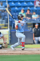 Hickory Crawdads David Garcia (13) swings at a pitch during a game against the Asheville Tourists on July 21, 2021 at McCormick Field in Asheville, NC. (Tony Farlow/Four Seam Images)