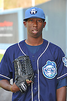 Edwar Cabrera #16 of the Asheville Tourists poses during media day at McCormick Field on April 4, 2011 in Asheville, North Carolina.  Photo by Tony Farlow / Four Seam Images..