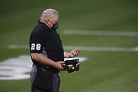 OAKLAND, CA - MAY 3:  Home plate umpire Bill Miller works the game while wearing a mask between the Toronto Blue Jays bats and Oakland Athletics at the Oakland Coliseum on Monday, May 3, 2021 in Oakland, California. (Photo by Brad Mangin)