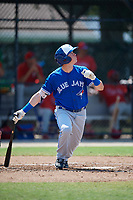 Toronto Blue Jays PK Morris (21) at bat during an Instructional League game against the Philadelphia Phillies on September 27, 2019 at Englebert Complex in Dunedin, Florida.  (Mike Janes/Four Seam Images)