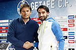 Getafe's new player Manuel Jesus Vazquez Chuli (r) with the General Manager Toni Munoz during his official presentation. February 2, 2017. (ALTERPHOTOS/Acero)