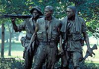 Statue of three servicemen at the Vietnam Memorial on the Mall, Washington, DC. Washington DC USA The Mall.
