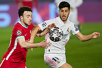 6th April 2021, Alfredo Di Stefano Stadium, Madrid, Spain; UEFA Champipons League football quarterfinl, Real Madrid versus Liverpool;  Diogo Jota of Liverpool FC and Marco Asensio of Real Madrid