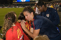 United States (USA) midfielder Shannon Boxx (7) and goalkeeper Briana Scurry (22) sign autographs after the game. The United States Women's National Team (USA) defeated the Republic of Ireland (IRL) 2-0 during an international friendly at Lincoln Financial Field in Philadelphia, PA, on September 13, 2008.