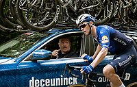 Yves Lampaert (BEL/Deceuninck - QuickStep) dropping back to the team car for a fresh water bottle and a chat with DS Tom Steels<br /> <br /> Grote Prijs Marcel Kint 2021<br /> One day race from Zwevegem to Kortrijk (196km)<br /> <br /> ©kramon