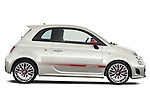 Passenger side profile view of a 2009 Fiat 500 Abarth 3 door hatchback.