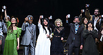 Amber Gray, Andre De Shields, Rachel Clavkin, Anais Mitchell, David Neumann, Eva Noblezada, Afra Hines and Timothy Hughes with cast during Broadway Opening Night Performance Curtain Call for 'Hadestown' at the Walter Kerr Theatre on April 17, 2019 in New York City.