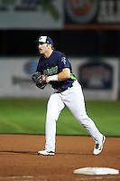 Vermont Lake Monsters first baseman Chris Iriart (18) during a game against the Hudson Valley Renegades on September 3, 2015 at Centennial Field in Burlington, Vermont.  Vermont defeated Hudson Valley 4-1.  (Mike Janes/Four Seam Images)