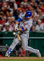 21 September 2018: New York Mets outfielder Michael Conforto in action against the Washington Nationals at Nationals Park in Washington, DC. Conforto went 1 for 3 as the Mets defeated the Nationals 4-2 in the second game of their 4-game series. Mandatory Credit: Ed Wolfstein Photo *** RAW (NEF) Image File Available ***