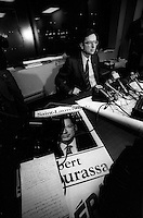 File Photo - Liberal Leader Robert Bourassa get elected in Ville Saint-Laurent by-election, January 20, 1985.<br /> <br /> Photo :  Pierre Roussel - Pierre Roussel