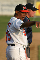 August 19, 2005:  Manager Jesus Alfaro of the Bluefield Orioles during a game at Bowen Field in Bluefield, WV.  Bluefield is the Appalachian League Class-A affiliate of the Baltimore Orioles.  Photo by:  Mike Janes/Four Seam Images