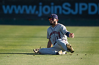 Lancaster JetHawks right fielder Willie Abreu (13) makes a sliding catch during a California League game against the San Jose Giants at San Jose Municipal Stadium on May 12, 2018 in San Jose, California. Lancaster defeated San Jose 7-6. (Zachary Lucy/Four Seam Images)