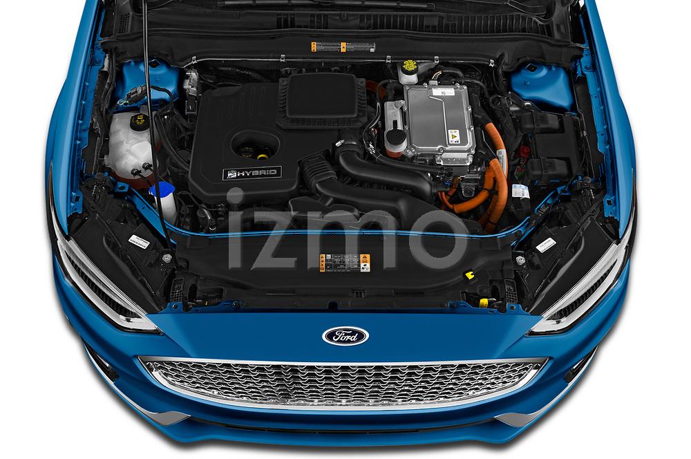 Car stock 2019 Ford Fusion-Hybrid Titanium  4 Door Sedan engine high angle detail view
