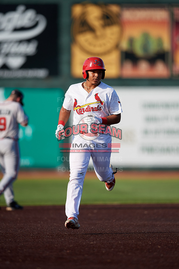 Johnson City Cardinals second baseman Donivan Williams (3) runs the bases after hitting a grand slam home run in the bottom of the fifth inning during a game against the Danville Braves on July 29, 2018 at TVA Credit Union Ballpark in Johnson City, Tennessee.  Johnson City defeated Danville 8-1.  (Mike Janes/Four Seam Images)
