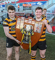 SCF2016 - RBAI vs Campbell College | Thursday 17th March 2016<br /> <br /> Conor Field and Corrie Barrett after the Ulster Schools Cup Final between RBAI and Campbell College at Kingspan Stadium, Ravenhill Park, Belfast, Northern Ireland. Photo credit: John Dickson / DICKSONDIGITAL