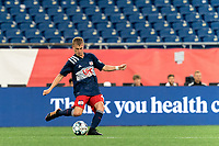 FOXBOROUGH, MA - AUGUST 5: Sean O'Hearn #40 of New England Revolution II passes the ball during a game between North Carolina FC and New England Revolution II at Gillette Stadium on August 5, 2021 in Foxborough, Massachusetts.