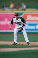 Fort Wayne TinCaps first baseman Luke Becker (9) during a Midwest League game against the Peoria Chiefs on July 17, 2019 at Parkview Field in Fort Wayne, Indiana.  Fort Wayne defeated Peoria 6-2.  (Mike Janes/Four Seam Images)