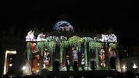 Spettacolo di luci con proiezione di foto e video sul tema della natura per sensibilizzare l'opinione pubblica sul cambiamento climatico sulla facciata della Basilica di San Pietro, Citta' del Vaticano, 8 dicembre 2015.<br /> Photo light show 'Fiat Lux' on the facade of St. Peter's Basilica at the Vatican, 8 December 2015.<br /> UPDATE IMAGES PRESS/Isabella Bonotto<br /> <br /> STRICTLY ONLY FOR EDITORIAL USE