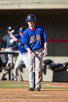 Shane Faulk (1) of Myrtle Beach High School in Myrtle Beach, South Carolina playing for the New York Mets scout team at the South Atlantic Border Battle at Doak Field on November 2, 2014.  (Brian Westerholt/Four Seam Images)