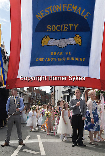 Neston Female Friendly Society Annual Club Walking Day. Neston Cheshire UK 2015.   In 2003 the society had to drop the word 'friendly' from the title, due to the increasing costs charged by the Financial Services Authority which was costing the society up to £2,000 per year
