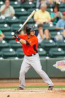 Sammy Starr (6) of the Frederick Keys at bat against the Winston-Salem Dash at BB&T Ballpark on July 21, 2013 in Winston-Salem, North Carolina.  The Dash defeated the Keys 3-2.  (Brian Westerholt/Four Seam Images)