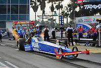 Mar. 10, 2012; Gainesville, FL, USA; NHRA top fuel dragster driver T.J. Zizzo during qualifying for the Gatornationals at Auto Plus Raceway at Gainesville. Mandatory Credit: Mark J. Rebilas-