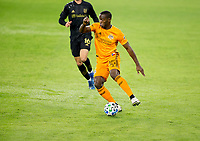 CARSON, CA - OCTOBER 28: Maynor Figueroa #15 of the Houston Dynamo turns with the ball during a game between Houston Dynamo and Los Angeles FC at Banc of California Stadium on October 28, 2020 in Carson, California.