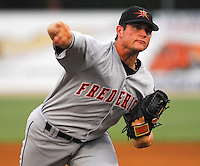 25 June 2007: Frederick Keys RHP Chorye Spoone took a no-hitter into the eighth inning against the Potomac Nationals, at Pfitzner Stadium, Woodbridge, Va. Spoone is shown pitching during the game and begin congratulated after finishing the eighth. Photo by:  Tom Priddy/Four Seam Images