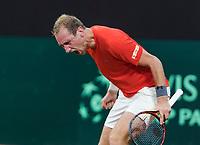 The Hague, The Netherlands, September 17, 2017,  Sportcampus , Davis Cup Netherlands - Chech Republic, Fifth match : Thiemo de Bakker (NED) sceams it out<br /> Photo: Tennisimages/Henk Koster