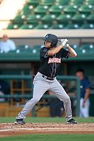 Jupiter Hammerheads Davis Bradshaw (8) bats during a game against the Lakeland Flying Tigers on July 30, 2021 at Joker Marchant Stadium in Lakeland, Florida.  (Mike Janes/Four Seam Images)