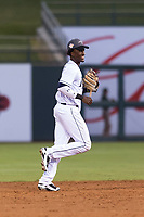 AFL West shortstop Lucius Fox (5), of the Peoria Javelinas and Tampa Bay Rays organization, jogs off the field between innings of the Arizona Fall League Fall Stars game at Surprise Stadium on November 3, 2018 in Surprise, Arizona. The AFL West defeated the AFL East 7-6 . (Zachary Lucy/Four Seam Images)
