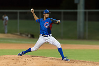 AZL Cubs 2 relief pitcher Elias Herrera (67) delivers a pitch during an Arizona League game against the AZL Indians 2 at Sloan Park on August 2, 2018 in Mesa, Arizona. The AZL Indians 2 defeated the AZL Cubs 2 by a score of 9-8. (Zachary Lucy/Four Seam Images)