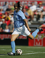 OCT 2, 2005: College Park, MD, USA:  UNC Tarheel midfielder #32 Yael Averbuch takes a shot while playing the Maryland Terrapins at Ludwig Field.  UNC won, 4-0. Mandatory Credit: Photo By Brad Smith (c) Copyright 2005 Brad Smith