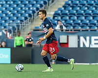 FOXBOROUGH, MA - JULY 9: Colin Verfurth #35 of New England Revolution II brings the ball forward during a game between Toronto FC II and New England Revolution II at Gillette Stadium on July 9, 2021 in Foxborough, Massachusetts.