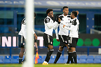 14th February 2021, Doddison Park, Liverpool, England;  Fulhams Josh Maja celebrates with teammates after the Premier League match between Everton and Fulham at Goodison Park in Liverpool