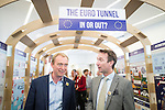 """© Joel Goodman - 07973 332324 . 09/06/2016 . Manchester , UK . Liberal Democrat leader TIM FARRON and JOHN LEECH , campaigning for Remain at an """" EU Tunnel """" display , at the People's History Museum in Manchester . Photo credit : Joel Goodman"""