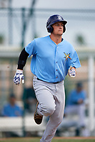 Tampa Bay Rays Chris Betts (26) runs to first base during an Instructional League game against the Pittsburgh Pirates on October 3, 2017 at Pirate City in Bradenton, Florida.  (Mike Janes/Four Seam Images)