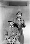 LEON AND BREVY (HILL) LILLIE. Brevy (Hill) Lillie was one of the oldest of several children of P. M. E. and Eliza Hill. P. M. E. Hill gave an oral history to an interviewer with the WPA program of the 1930s, tracing the family ancestry to the Yuruban people of Africa. He celebrated their heritage by giving several of his children African names--sons Pahio and Tazonia and daughters Zanzye and XaCadene. Ruth Folley remembered her Lincoln High School classmate Zanzye as very brilliant. Zanzye Hill went on to earn a law degree from the University of Nebraska in 1929, Nebraska's first African American female graduate in that profession. She served as chief counsel for an Arkansas insurance company before her death in the 1930s. Her younger sister XaCadene became a physician.<br /> <br /> Photographs taken on black and white glass negatives by African American photographer(s) John Johnson and Earl McWilliams from 1910 to 1925 in Lincoln, Nebraska. Douglas Keister has 280 5x7 glass negatives taken by these photographers. Larger scans available on request.