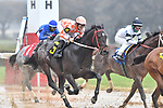 February 27, 2021: Woodhouse #6 ridden by David Cabrera during the running of the Southwest Stakes (Grade 3), a 'Road to the Kentucky Derby' points race, for trainer Brad Cox at Oaklawn Park in Hot Springs, Arkansas. Ted McClenning/Eclipse Sportswire/CSM