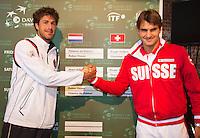 13-09-12, Netherlands, Amsterdam, Tennis, Daviscup Netherlands-Swiss, Draw  Robin Haase and Roger Federer
