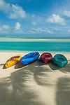 Canoes on lagoon in Aitutaki, Cook Islands