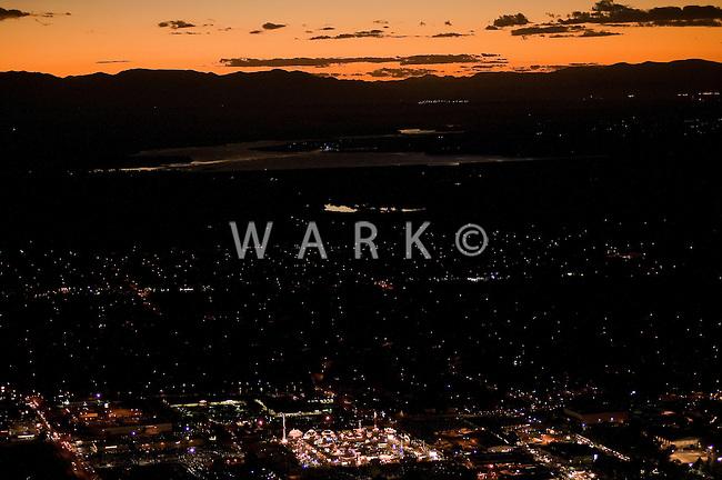 night aerial of Pueblo, CO